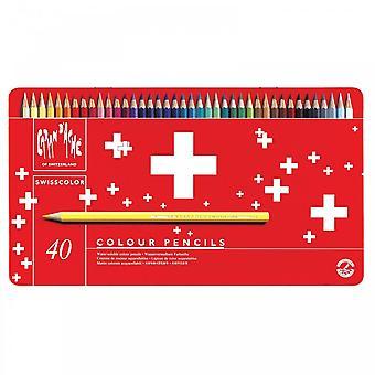 Caran D'Ache Swisscolor Water Soluble Pencils 40 Tin