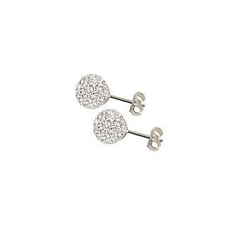 Eternal Collection Shamballa 8mm Glitter Ball Stainless Steel Stud Pierced Earrings