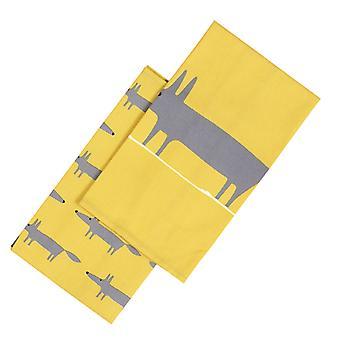 Scion Mr Fox Set of 2 Tea Towels, Yellow