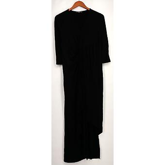 Kate & Mallory Dress 3/4 Sleeve Twist Front Center Black Womens A428763