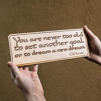 You are never too old sign wall plaque - raw wood 12x4in