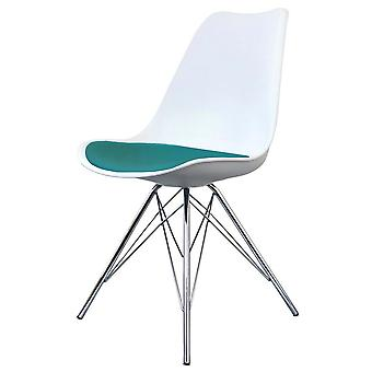 Fusion Living Eiffel Inspired White And Teal Dining Chair With Chrome Metal Legs