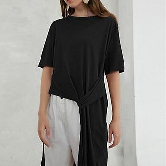 O-neck Short Sleeve Asymmetrical Shirts Plus Size