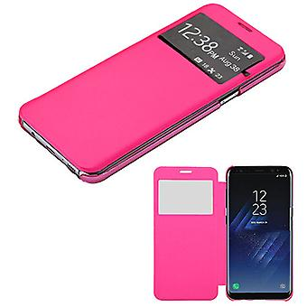 MYBAT Hot Pink Silk Texture MyJacket (w/ Transparent Frosted Tray)(968) for Galaxy S8 Plus