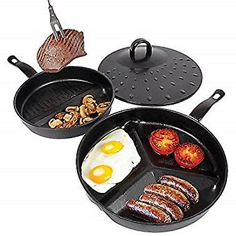 3 in 1 Divider 2 & 3 Section Non-Stick Kitchen Frying Pan Set With Simmer Lid