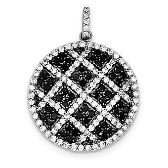 925 στερλίνα ασημένια γυαλισμένο ανοικτό πίσω ρόδιο επιμεταλλωμένα μαύρο και άσπρο CZ κυβικά Zirconia προσομοιωμένο Diamond Checkered επίκειμαι