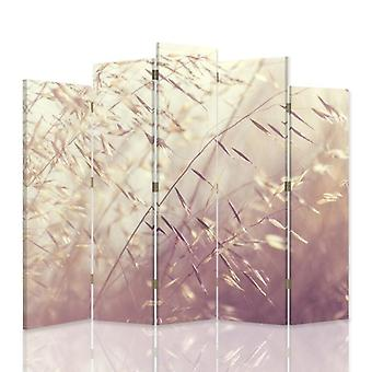 Divisor de habitación decorativa, 5 paneles, doble cara, 360o de lona giratoria, hojas de hierba prósperas 3