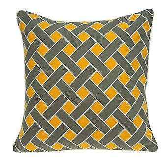 """20"""" x 7"""" x 20"""" Transitional Gray and Orange Pillow Cover With Down Insert"""