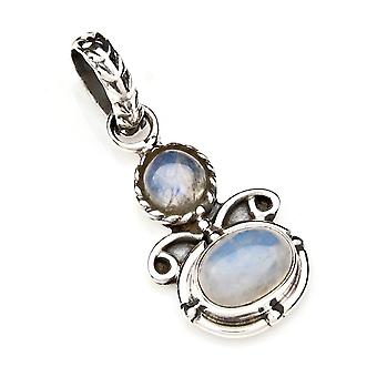 Ketting hanger Amulet Zilver 925 Sterling Zilver Regenboog Maansteen Witte Steen (Nr: MAH 112-04)