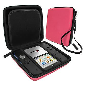 Zedlabz hard protective eva travel carry case for nintendo 2ds with built in game storage - pink