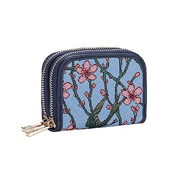 Almond blossom and swallow double-zip rfid money purse by signare tapestry / dzip-blos