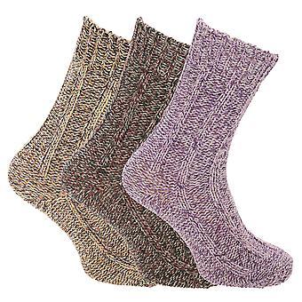 Damen/Damen Chunky stricken Outdoor Boot Socken (3 Paare)