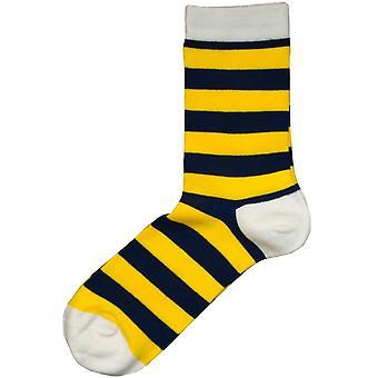 Bassin och Brown hooped stripe strumpor-gul/Marinblå/vit