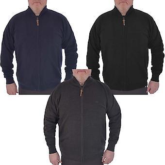 Duke D555 Hombres Grande Alto Kingsize Buddy Full Zip Plain Jumper Sweater Top