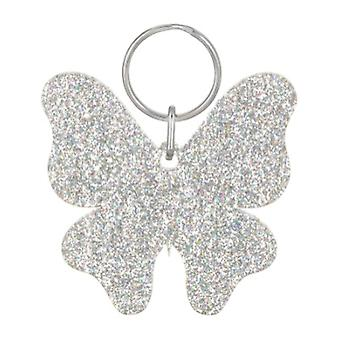 Holographic Silver Acrylic Glitter Butterfly Keyring