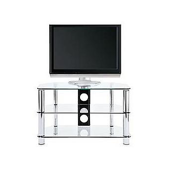Darcy Clear Glass & Chrome TV Stand RRP £79 Fits Up To 34