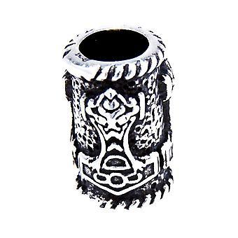 Beard bead thorshammer 5mm - silver