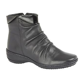 Mod Comfys Womens/Ladies X-Wide Folded Vamp Zip Leather Ankle Boots