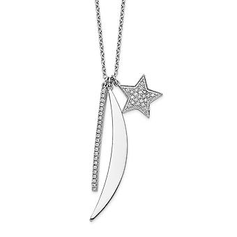 925 Sterling Silver Rhodium plated CZ Cubic Zirconia Simulated Diamond Bar Star and Celestial Moon Necklace 24 Inch Jewe