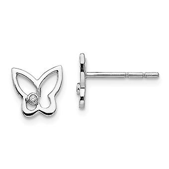 Polished 8mm Ss White Ice Diamond Butterfly Angel Wings Post Earrings Jewelry Gifts for Women