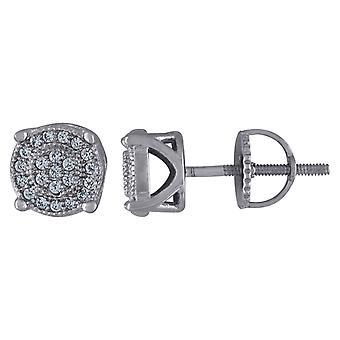 925 Sterling Ezüst CZ Cubic Cirkónia szimulált Diamond Férfi Női Kerek Stud fülbevaló intézkedések 7x7mm Széles Ékszer Ajándék