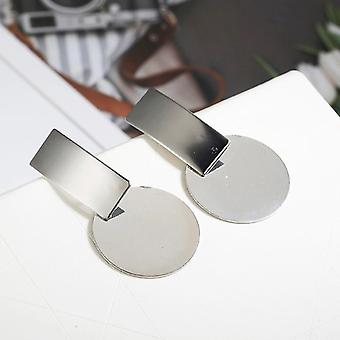 Silver Round Disc Charm Earrings
