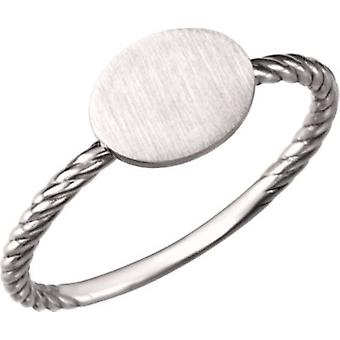 14k White Gold Be Posh Oval Signet Rope Ring  Size 6.5 Jewelry Gifts for Women - 1.8 Grams