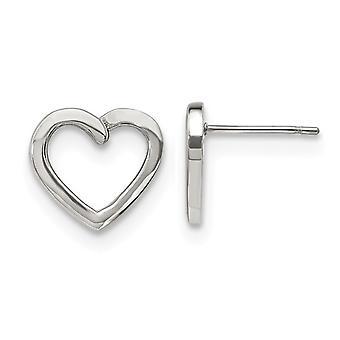 Stainless Steel Polished Open Heart Post Earrings