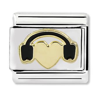 Nomination Classic Heart with Headphones Steel, Enamel and 18k Gold Link Charm 030283/01