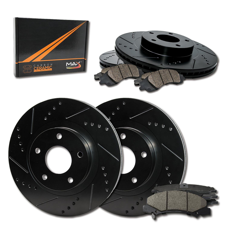 09 Fits Infiniti G37 Sdn Black Slot Drill Rotor M1 Ceramic Pads F See Desc.