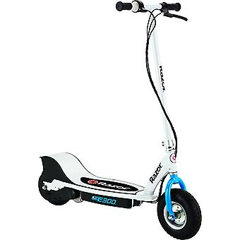 Razor E300 Electric Scooter White and Blue Maximum Speed of 15 mph Ages 13