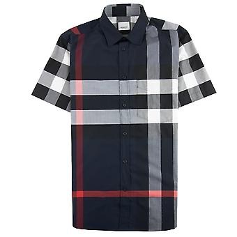 Burberry Short-sleeve Check Stretch Cotton Poplin Shirt Navy