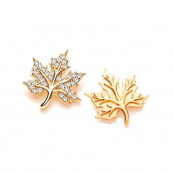 Cavendish French Silver, CZ and Gold Vermeil Maple Leaf Earrings
