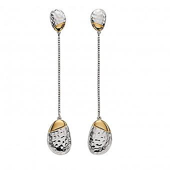 Fiorelli Silver Sterling Silver Long Pebble Drop Yellow Gold Plating Earring E5837
