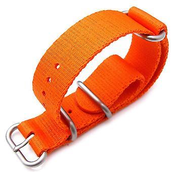 Strapcode n.a.t.o horlogeband miltat 21mm 3 ringen zulu militaire horloge band ballistische nylon armband - oranje en geborsteld hardware