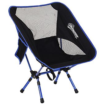 Outsunny Oversized Folding Camping Chair Aluminum Frame Mesh Back Portable Seat Fishing Festivals Sports Games Easy Set Up Weather-Resistant Black