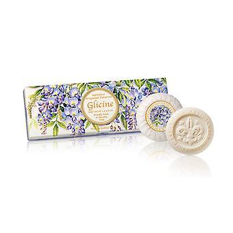 Saponificio Artigianale Fiorentino Handgemaakte Blauwe Regen Zeep liefdevol verpakt in hoge kwaliteit Gift Box 3x100g