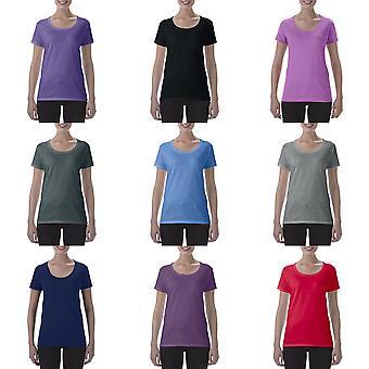 Gildan mujeres/damas manga corta profundo escote redondo t-shirt