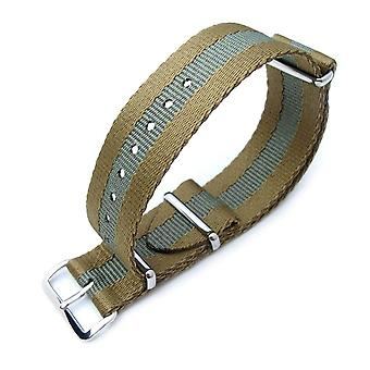 Strapcode n.a.t.o watch strap zulu g10 20mm or 22mm military watch strap, sandwich nylon armband, polished - military green