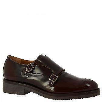 Zapatos Leonardo Zapatos Mujeres's zapatos de doble monje hechos a mano en piel de becerro marrón brillante