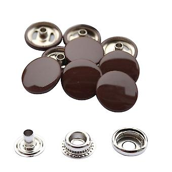 Braun 15mm 4, Teil Press Studs, Snap Fastener