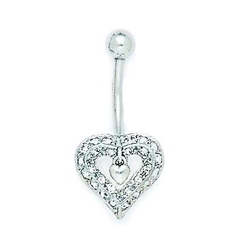 14k White Gold CZ Cubic Zirconia Simulated Diamond 14 Gauge Dangling Love Heart Body Jewelry Belly Ring Measures 28x14mm