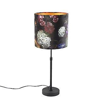QaZQA Lampe de table noire avec des fleurs d'ombre de vélor avec l'or 25 cm - Parte
