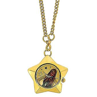 Hannah Montana Girls Analogue Goldtone Star Pendant Watch On 27 Inch Chain
