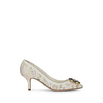 Dolce & Gabbana Mid Stiletto Heel Pumps In Satin And White Taormina Lace