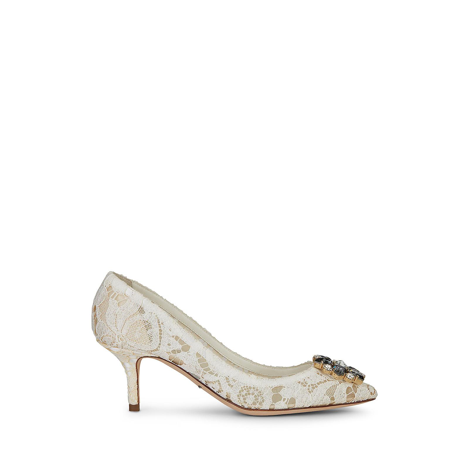 Dolce & Gabbana Mid Stiletto Heel Pumps In Satin And White Taormina Lace 8GRJ9