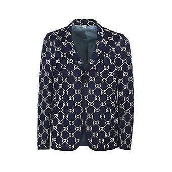 Gucci 521889z372f4333 Men's Blue Cotton Blazer