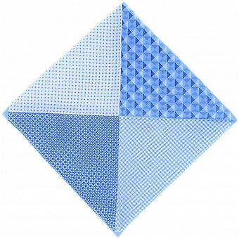 Michelsons of London 4 Pattern Silk Pocket Square - Ice Blue