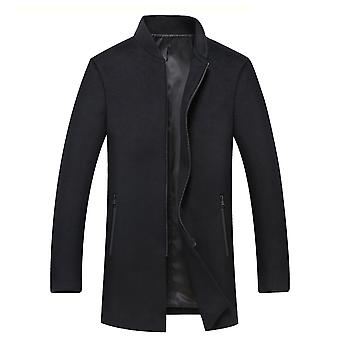 Cloudstyle Men's Overcoats Solid Casual Mid-Long Jacket