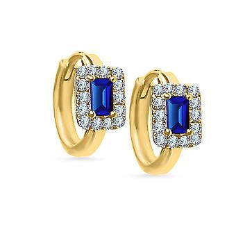 Náušnice Mini Hoop Kleopatra Drahý kameň 18K zlato a diamanty - Ruby | Smaragdová | Sapphire